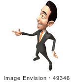 #49346 Royalty-Free (Rf) Illustration Of A 3d Asian Businessman Pointing His Fingers Like A Gun - Version 5