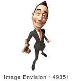 #49351 Royalty-Free (Rf) Illustration Of A 3d Asian Businessman Pointing His Fingers Like A Gun - Version 4
