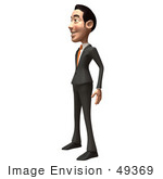 #49369 Royalty-Free (Rf) Illustration Of A 3d Asian Businessman Standing And Facing Left