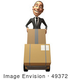 #49372 Royalty-Free (Rf) Illustration Of A 3d White Corporate Businessman Moving Boxes On A Dolly - Version 1