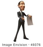 #49376 Royalty-Free (Rf) Illustration Of A 3d White Corporate Businessman Holding A Contract - Version 2