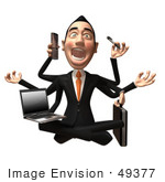#49377 Royalty-Free (Rf) Illustration Of A 3d Asian Businessman Multi Tasking - Version 2