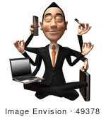 #49378 Royalty-Free (Rf) Illustration Of A 3d Asian Businessman Multi Tasking - Version 1
