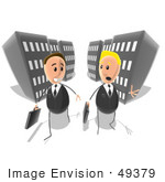 #49379 Royalty-Free (Rf) Illustration Of Two Businessmen Chatting And Walking On A City Street