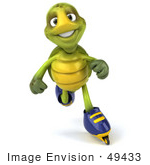 #49433 Royalty-Free (Rf) Illustration Of A 3d Green Turtle Mascot Roller Blading - Version 3