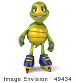 #49434 Royalty-Free (Rf) Illustration Of A 3d Green Turtle Mascot Roller Blading - Version 2