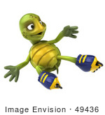 #49436 Royalty-Free (Rf) Illustration Of A 3d Green Turtle Mascot Roller Blading - Version 6