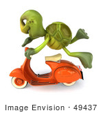 #49437 Royalty-Free (Rf) Illustration Of A 3d Green Turtle Mascot Flying By On An Orange Scooter