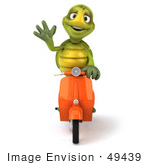 #49439 Royalty-Free (Rf) Illustration Of A 3d Green Turtle Mascot Riding A Scooter - Version 3