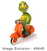 #49440 Royalty-Free (Rf) Illustration Of A 3d Green Turtle Mascot Riding A Scooter - Version 2