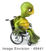#49441 Royalty-Free (Rf) Illustration Of A 3d Sad Green Turtle Mascot Pouting In A Wheelchair