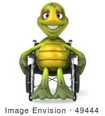 #49444 Royalty-Free (Rf) Illustration Of A 3d Green Turtle Mascot Using A Wheelchair - Version 1