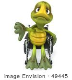 #49445 Royalty-Free (Rf) Illustration Of A 3d Sad Green Turtle Mascot Using A Wheelchair And Holding His Thumb Down