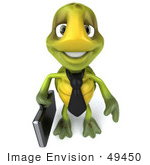 #49450 Royalty-Free (Rf) Illustration Of A 3d Green Turtle Mascot Businessman With A Briefcase - Version 2