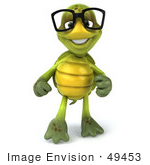 #49453 Royalty-Free (Rf) Illustration Of A 3d Green Turtle Mascot Pointing And Smiling