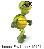 #49454 Royalty-Free (Rf) Illustration Of A 3d Green Turtle Mascot Walking And Wearing Spectacles