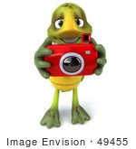 #49455 Royalty-Free (Rf) Illustration Of A 3d Green Turtle Mascot Taking Pictures - Version 2