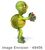 #49456 Royalty-Free (Rf) Illustration Of A 3d Green Turtle Mascot Taking Pictures - Version 3