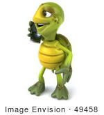 #49458 Royalty-Free (Rf) Illustration Of A 3d Green Turtle Mascot Talking On A Cell Phone
