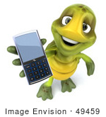 #49459 Royalty-Free (Rf) Illustration Of A 3d Green Turtle Mascot Holding A Cell Phone