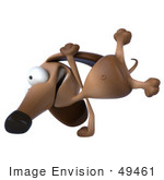#49461 Royalty-Free (Rf) Illustration Of A 3d Brown Wiener Dog Mascot Doing A Hand Stand - Version 2