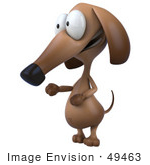 #49463 Royalty-Free (Rf) Illustration Of A 3d Brown Wiener Dog Mascot Facing To The Left