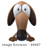 #49467 Royalty-Free (Rf) Illustration Of A 3d Brown Wiener Dog Mascot With Big Eyes