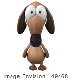 #49468 Royalty-Free (Rf) Illustration Of A 3d Brown Wiener Dog Mascot Facing Front