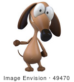 #49470 Royalty-Free (Rf) Illustration Of A 3d Brown Wiener Dog Mascot Standing And Gesturing