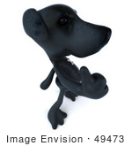 #49473 Royalty-Free (RF) Illustration Of A 3d Black Labrador Mascot Giving The Thumbs Up - Pose 4 by Julos