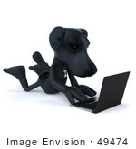 #49474 Royalty-Free (Rf) Illustration Of A 3d Black Labrador Mascot Typing On A Laptop