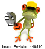 #49510 Royalty-Free (Rf) Illustration Of A 3d Red Eyed Tree Frog Contractor Wearing A Hard Hat And Holding A Wrench - Version 3