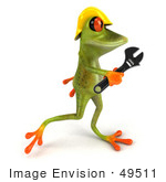 #49511 Royalty-Free (Rf) Illustration Of A 3d Red Eyed Tree Frog Contractor Wearing A Hard Hat And Holding A Wrench - Version 4