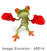 #49514 Royalty-Free (Rf) Illustration Of A 3d Red Eyed Poison Dart Frog Wearing Boxing Gloves - Pose 1