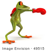 #49515 Royalty-Free (Rf) Illustration Of A 3d Red Eyed Poison Dart Frog Wearing Boxing Gloves - Pose 2