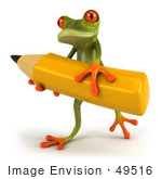 #49516 Royalty-Free (Rf) Illustration Of A 3d Red Eyed Tree Frog Carrying A Large Yellow Pencil - Version 1
