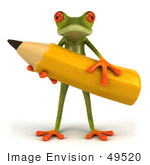 #49520 Royalty-Free (Rf) Illustration Of A 3d Red Eyed Tree Frog Holding A Large Yellow Pencil