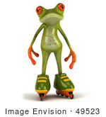 #49523 Royalty-Free (Rf) Illustration Of A 3d Red Eyed Tree Frog Mascot Roller Blading - Version 2