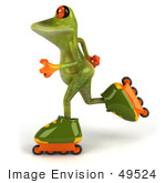 #49524 Royalty-Free (Rf) Illustration Of A 3d Red Eyed Tree Frog Mascot Roller Blading - Version 3