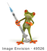 #49526 Royalty-Free (Rf) Illustration Of A 3d Red Eyed Tree Frog Carrying A Flu Vaccine Syringe