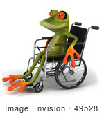 #49528 Royalty-Free (Rf) Illustration Of A Handicap 3d Red Eyed Tree Frog Using A Wheelchair - Version 1