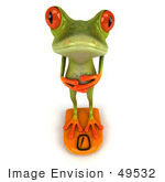 #49532 Royalty-Free (Rf) Illustration Of A 3d Green Tree Frog Weighing Himself On A Scale