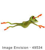 #49534 Royalty-Free (Rf) Illustration Of A 3d Red Eyed Tree Frog Taking A Large Leap