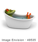 #49535 Royalty-Free (Rf) Illustration Of A 3d Red Eyed Tree Frog Taking A Leisurely Bath