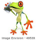 #49539 Royalty-Free (Rf) Illustration Of A 3d Green Tree Frog Character Using A Cell Phone - Version 2