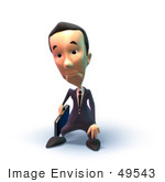 #49543 Royalty-Free (Rf) Illustration Of A 3d Businessman Mascot Pouting - Version 6