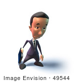 #49544 Royalty-Free (Rf) Illustration Of A 3d Businessman Mascot Pouting - Version 5