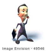 #49546 Royalty-Free (Rf) Illustration Of A 3d Businessman Mascot Talking On A Cell Phone - Version 4