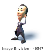 #49547 Royalty-Free (Rf) Illustration Of A 3d Businessman Mascot Talking On A Cell Phone - Version 5