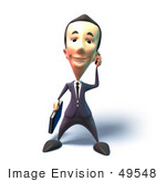 #49548 Royalty-Free (Rf) Illustration Of A 3d Businessman Mascot Talking On A Cell Phone - Version 6